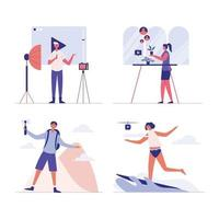 Blogger Review Concept Vetor. Creative famous influencer shooting vlogging occupation. vector