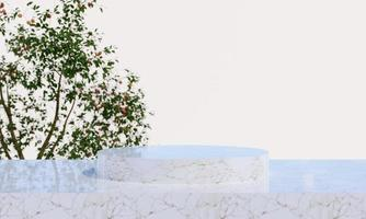 marble product display podium with blurred nature leaves background. 3D rendering photo