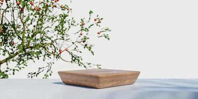 Wooden product display podium with blurred nature leaves background. 3D rendering photo