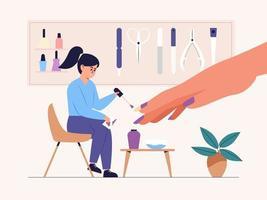 Manicurist Applies Nail Polish of client in a nail salon. vector
