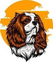 dog illustration on solid color vector