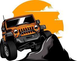 ilustración de coche todoterreno en color sólido vector