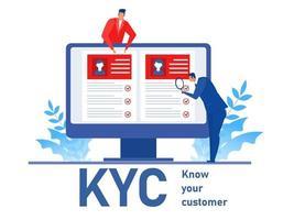 kyc o conozca a su cliente con el negocio verificando la identidad del concepto de sus clientes en los futuros socios a través de un ilustrador de vectores de lupa