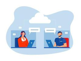 Man and woman operators in headset advising customers flat style design.Call center workers help clients.Call center, hotline flat vector. illustrator. vector