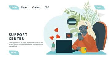 Customer service call center a black girl communicates with people on the phone working in support for the design of web pages and mobile applications flat design vector