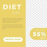 diet with perfect breakfast food menu sale discount poster social media post template modern minimalis style vector