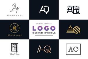 Set of collection Initial Letters AQ Logo Design. vector