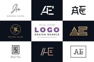 Set of collection Initial Letters AE Logo Design. vector