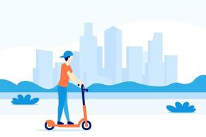 boy riding electric kick scooter in the city, vector