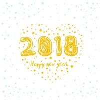 Happy new year 2018 vector card design on white
