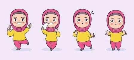 Hijabi muslim girl character vector illustration