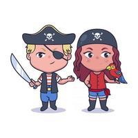 Cute couple pirates illustration design vector