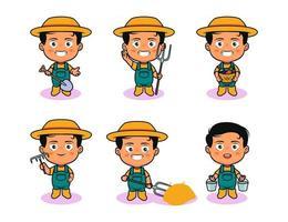 Cute farmer character illustration vector
