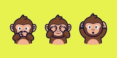3 monkeys cartoon close mouth eye and ear vector illustration