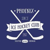 Ice Hockey club t-shirt print, vintage design vector