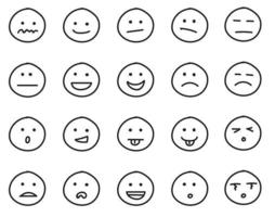 Collection of freehand drawing of emoticons. vector