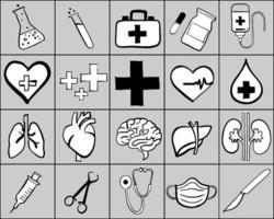 dibujo a mano alzada de la colección de iconos médicos. ilustración vectorial. vector