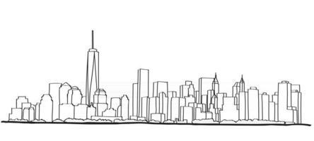 Free hand sketch of New York City skyline. vector