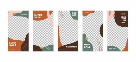 6 set of ig stories frame template design. Brown and grey abstract collage layout design. Mockup for personal blog or shop. Layout for promotion. Fashion discount mega sale. Vector illustration