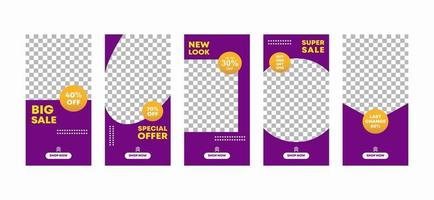 Set of social media templates design backgrounds for ig stories fashion sale promotion. Modern minimalistic style for social networks story in purple and yellow colors. Vector illustration