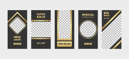 5 a bundle of social media ig stories template design with frame in black and gold classic elegant style for fashion, promotion, or flyer ads banner. Special offer price. Vector illustration