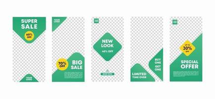 Set of social media ig story design template with light green color. Fashion promo mega sale. Modern style for fashion, promotion, or flyer ads banner. Vector illustration