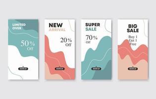 Set bundle of modern web banner for social media stories. Discount promotion. Suitable for social media posts, mobile apps, banners design and web vector