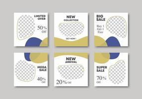 6 bundle of social media banner post promotion. Design backgrounds for social media banner with pastel color. Layout mega sale promotion. Vector illustration  with photo college