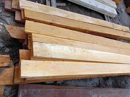 Timber stock on saw mill for furniture photo