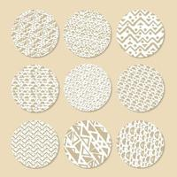 Set of patterned brown or beige and white circle washi tapes for scrapbooking. Drawings are composed of triangles, circles and lines vector