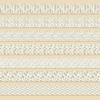 Set of patterned brown or beige and white washi seamless border tapes for scrapbooking. Drawings are composed of triangles, circles and lines vector