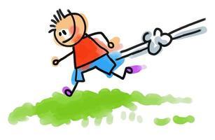 Watercolor Stick Running Boy vector