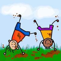 Muddy Boys Playing vector