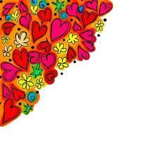 Doodle Love Heart Border Decor vector