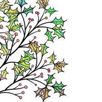 Watercolor Christmas Holly Border Decor vector