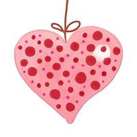 Pink Spotted Love Heart Ornament vector