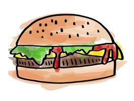 Watercolor Cheese Burger vector