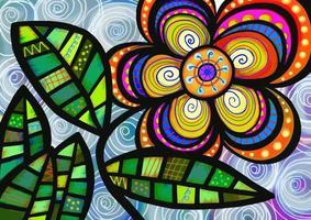 Folk Art Flower Painting vector