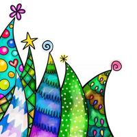 Watercolor Christmas Tree Border Decor vector
