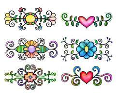 Ornamental Watercolor Flourishes vector
