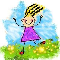 Happy Watercolor Stick Girl vector