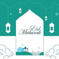 Poster of Eid Mubarak on the green, white background. vector