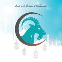 Poster of Eid al-Adah Mubarak in blue, white background vector