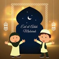 Golden background poster of Eid al-Adah vector