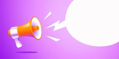 realistic style megaphone with blank bubble chat copy space vector Illustration on purple banner background, concept of join us, job vacancy and announcement in modern flat cartoon style design