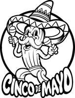 Cinco de mayo cactus playing maracas Silhouette vector