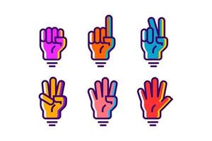 colorful hand gesture count 1 2 3 4 and 5 vector icon illustration in trendy cartoon filled line style set Illustration, counting hand vector design in modern neon color