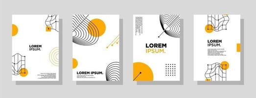 Set of neo memphis geometric style covers. Collection of cool bright covers. Abstract aesthetic line linear shapes compositions Vector. vector