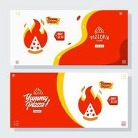 pizza pizzeria flyer vector set collection cartoon banner web ui ux ads illustration background with sausage icon, promotion for website homepage