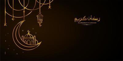 golden ramadan Kareem, Eid Mubarak Greeting Line icon minimal and simple vector design with beautiful Glowing Lantern and elegant crescent moon star on dark background or Banner